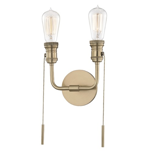 Mitzi by Hudson Valley Industrial Edison Bulb Sconce Brass 7.5-Inch by Hudson Valley Lighting H106102-AGB