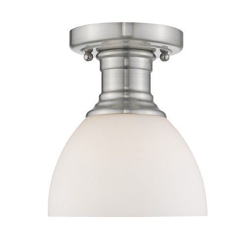Golden Lighting Golden Lighting Hines Pewter Semi-Flushmount Light with Opal Shade 3118-SFPW-OP