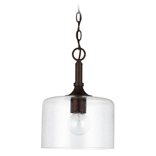 HomePlace by Capital Lighting HomePlace Carter Bronze 1-Light Pendant Light with Clear Seeded Glass 339311BZ