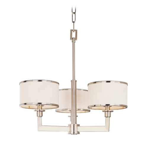 Maxim Lighting Modern Mini-Chandelier with White Shades in Satin Nickel Finish 12054WTSN