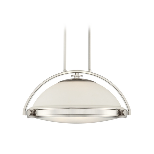 Quoizel Lighting Modern Pendant Light with White Glass in Imperial Silver Finish UPFT1820IS