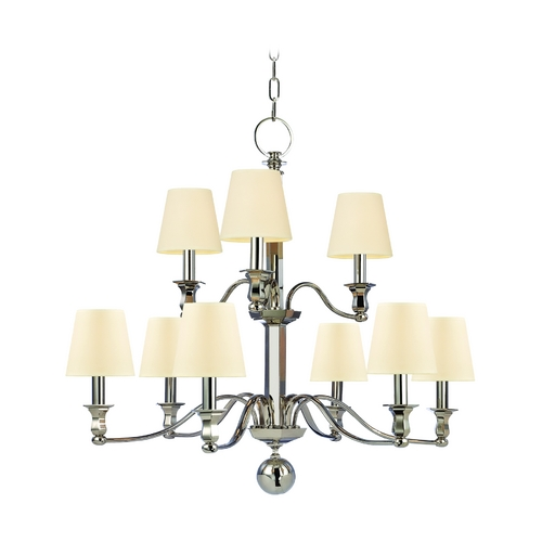 Hudson Valley Lighting Chandelier with Beige / Cream Paper Shades in Polished Nickel Finish 1419-PN