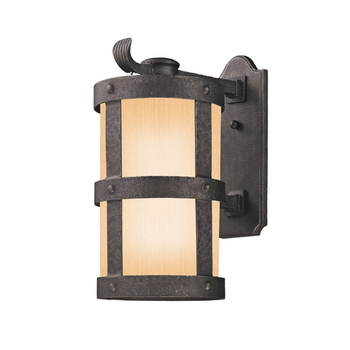 Troy Lighting Outdoor Wall Light with Amber Glass in Barbosa Bronze Finish BF3313