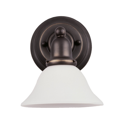 Sea Gull Lighting Sconce Wall Light with White Glass in Heirloom Bronze Finish 49063BLE-782