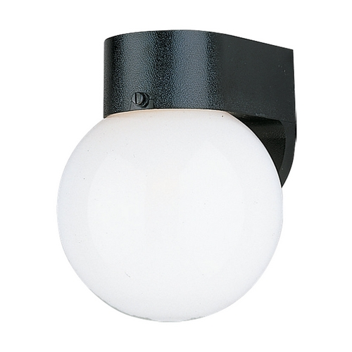 Sea Gull Lighting Outdoor Wall Light with White Glass in Smooth White Finish 8753-34