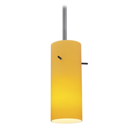 Access Lighting Modern Mini-Pendant Light with Amber Glass 28030-1R-BS/AMB