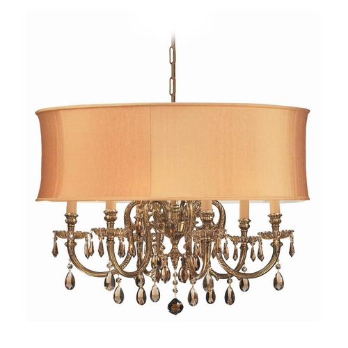 Crystorama Lighting Crystal Chandelier with Gold Shade in Olde Brass Finish 2916-OB-SHG-GTM