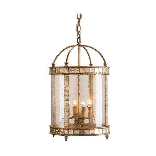 Currey and Company Lighting Pendant Light with Clear Glass in Harlow Silver Leaf Finish 9239