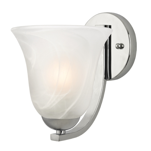 Design Classics Lighting Sconce with Alabaster Glass in Chrome Finish 585-26 GL9222-ALB