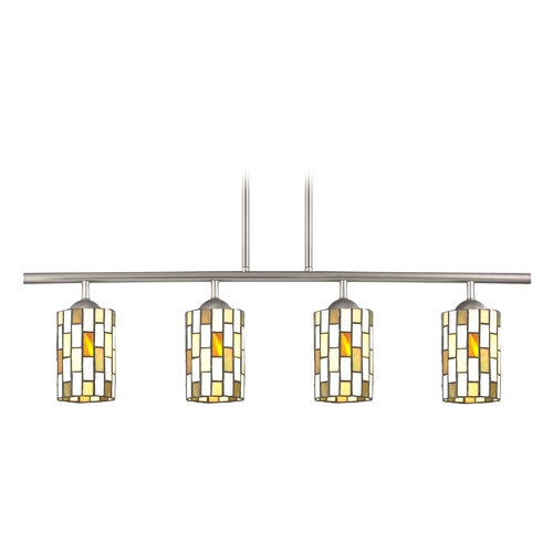 Design Classics Lighting Island Light with Multi-Color Glass in Satin Nickel Finish 718-09 GL1038