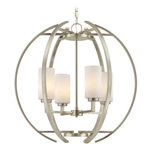 Design Classics Lighting Large Modern Orb with 4 Lights in Satin Nickel Finish 1690-09