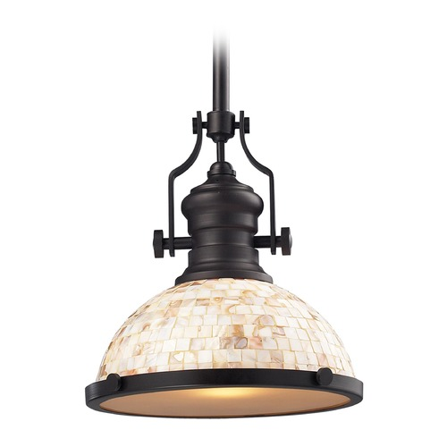 Elk Lighting Elk Lighting Chadwick Oiled Bronze LED Pendant Light with Bowl / Dome Shade 66433-1-LED