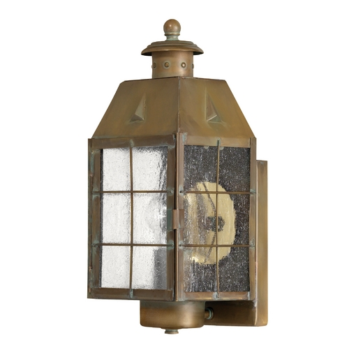 Hinkley Lighting Outdoor Wall Light with Clear Glass in Aged Brass Finish 2370AS