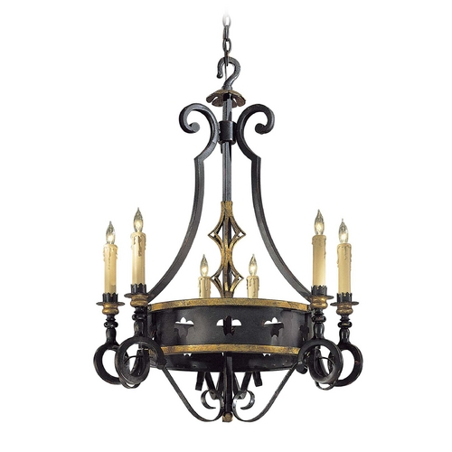Metropolitan Lighting Chandelier in French Black with Gold Leaf Finish N6106-20