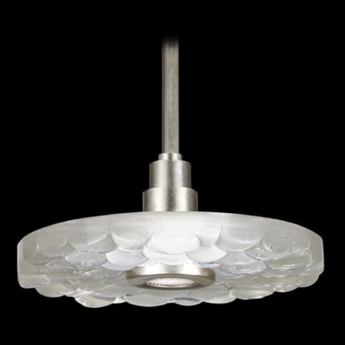 Fine Art Lamps Fine Art Lamps Crystal Bakehouse Silver Leaf Pendant Light with Drum Shade 823240-34ST