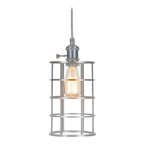 Jeremiah Lighting Jeremiah Mini Pendant Aged Galvanized Mini-Pendant Light with Cylindrical Shade KPMK100-AGV