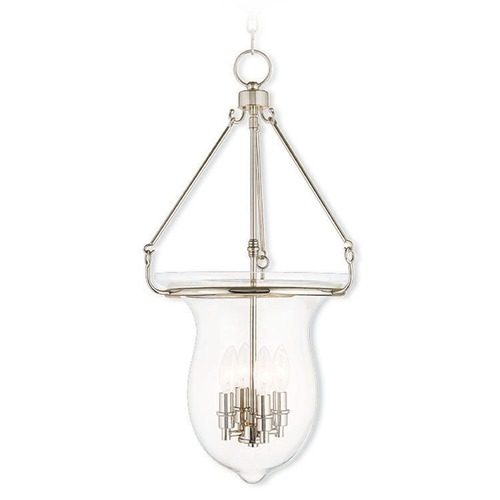 Livex Lighting Livex Lighting Canterbury Polished Nickel Pendant Light with Bowl / Dome Shade 50298-35