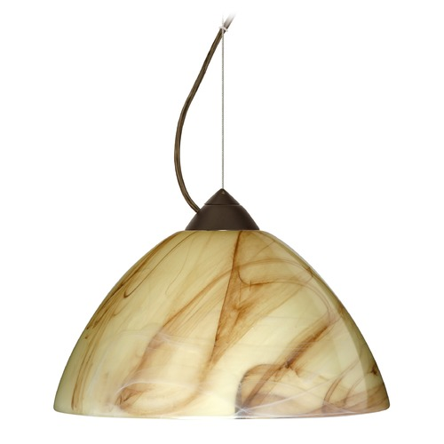 Besa Lighting Besa Lighting Porto Bronze LED Pendant Light with Bell Shade 1KX-420283-LED-BR