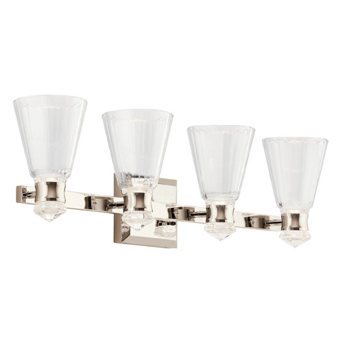 Kichler Lighting Kayva 8-Light Polished Nickel LED Bathroom Light with Clear Faceted Glass 45713PNLED