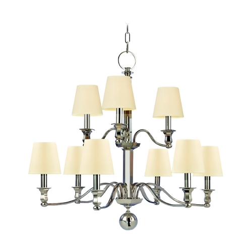 Hudson Valley Lighting Chandelier with White Shades in Polished Nickel Finish 1419-PN-WS