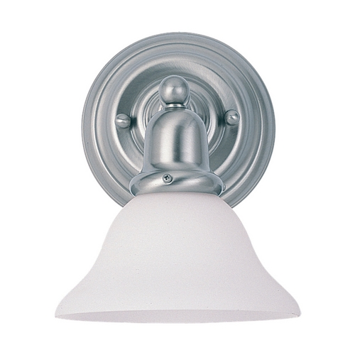 Sea Gull Lighting Sconce Wall Light with White Glass in Brushed Nickel Finish 49063BLE-962