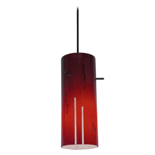 Access Lighting Modern Mini-Pendant Light with Red Glass 28030-1C-ORB/RUSKY