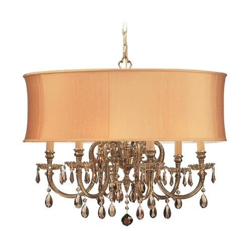 Crystorama Lighting Crystal Chandelier with Gold Shade in Olde Brass Finish 2916-OB-SHG-GTS