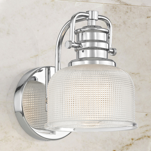 Design Classics Lighting Prismatic Glass Wall Sconce in Chrome Finish JJ 1791-26/FC