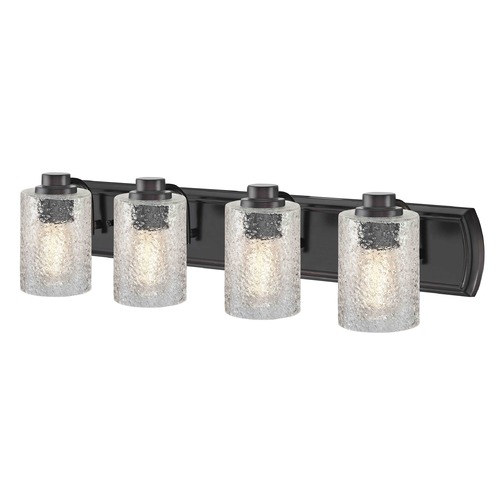 Design Classics Lighting Industrial Textured Glass 4-Light Bath Wall Light in Bronze 1204-36 GL1060C