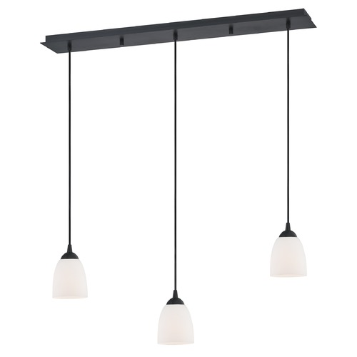 Design Classics Lighting 36-Inch Linear Pendant with 3-Lights in Matte Black Finish with Shiny Opal White Glass 5833-07 GL1024MB