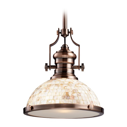 Elk Lighting Elk Lighting Chadwick Antique Copper LED Pendant Light with Bowl / Dome Shade 66443-1-LED