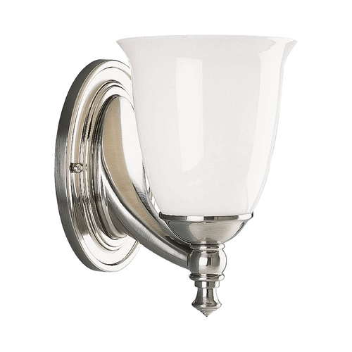 Progress Lighting Progress Sconce Wall Light with White Glass in Brushed Nickel Finish P3027-09