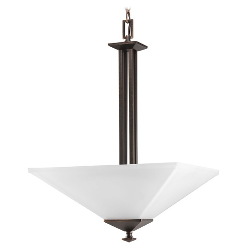 Progress Lighting Progress Pendant Light with White Glass in Venetian Bronze Finish P3906-74