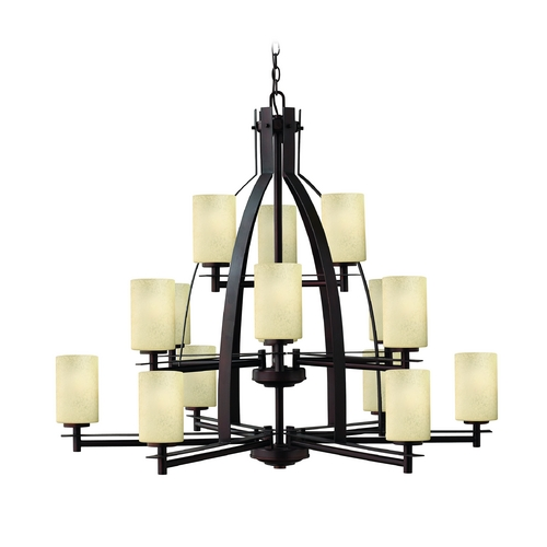 Hinkley Lighting Chandelier with Brown Glass in Metro Copper Finish 4729MC