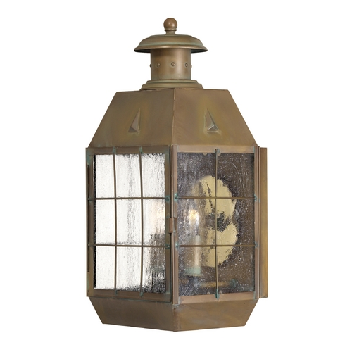 Hinkley Lighting Seeded Glass Outdoor Wall Light Brass Hinkley Lighting 2374AS