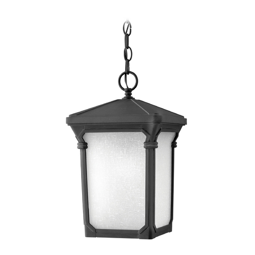 Hinkley Lighting Outdoor Hanging Light with White Glass in Museum Black Finish 1352MB-GU24