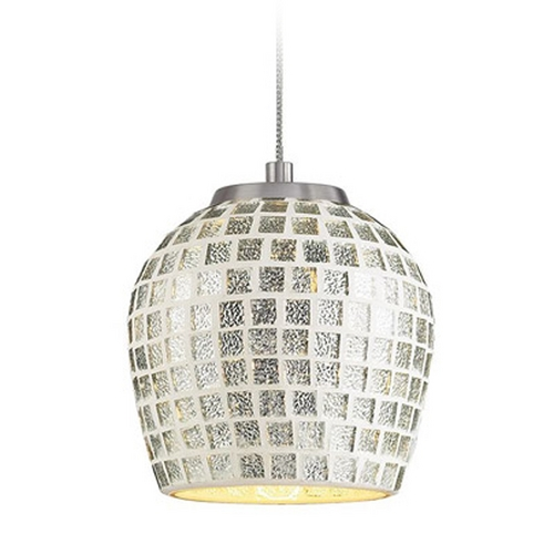 Elk Lighting Low Voltage LED Mini-Pendant Light with Silver Glass PF1000/1-LED-BN-SLV