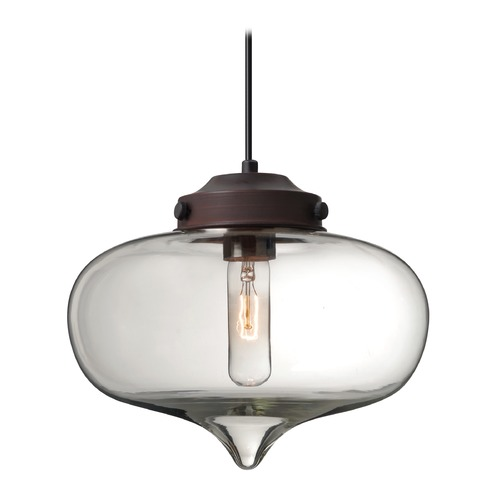 Besa Lighting Besa Lighting Mira Bronze Pendant Light with Oblong Shade 1JT-MIRACL-BR