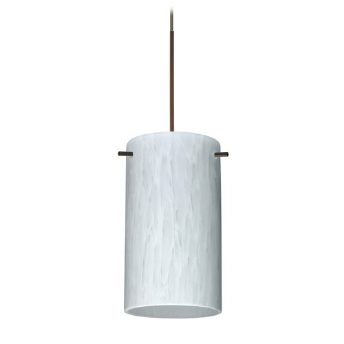 Besa Lighting Besa Lighting Stilo 7 Bronze Mini-Pendant Light with Cylindrical Shade 1XT-440419-BR