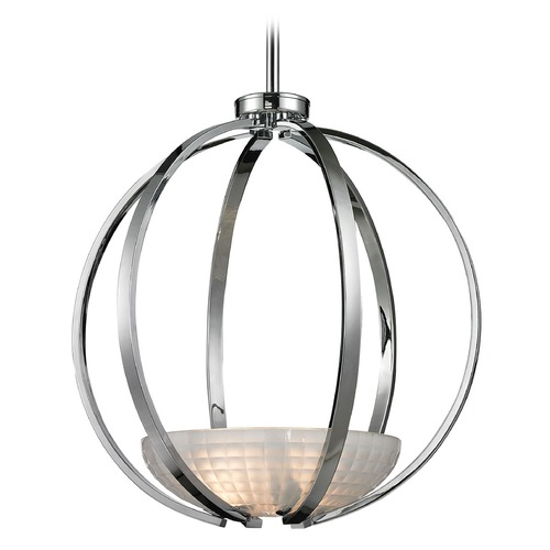Elk Lighting Elk Lighting Sculptive Polished Chrome Pendant Light with Bowl / Dome Shade 11763/3