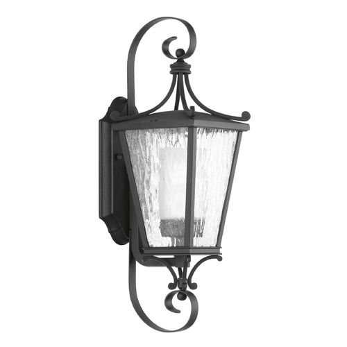 Progress Lighting Etched Seeded Glass Outdoor Wall Light Black Progress Lighting P6626-31