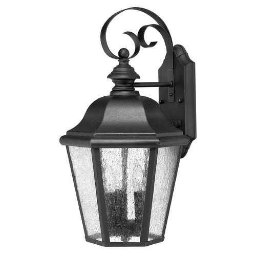 Hinkley LED Seeded Glass Black Outdoor Wall Light Seeded Glass 18 Inches Tall by Hinkley 1676BK-LL
