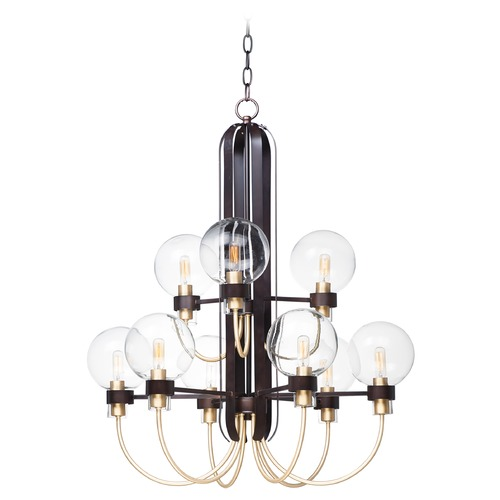 Maxim Lighting Maxim Lighting Bauhaus Bronze / Satin Brass Chandelier 30517CLBZSBR