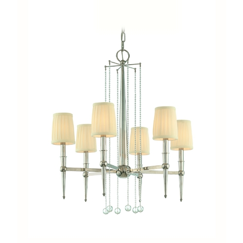 Hudson Valley Lighting Chandelier with White Shades in Polished Nickel Finish 6016-PN