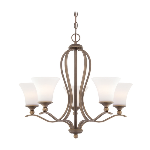 Quoizel Lighting Quoizel 5-Light Chandelier with White Glass in Palladian Bronze SPH5005PN