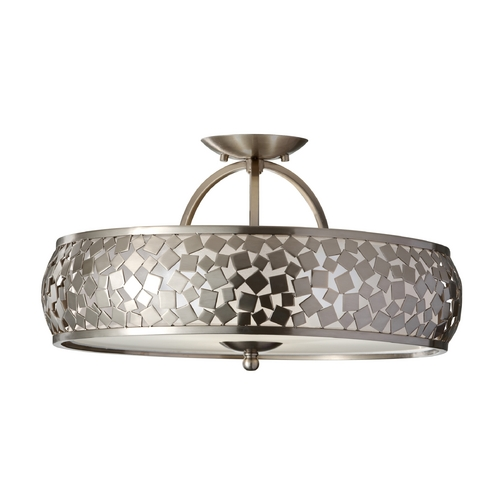 Feiss Lighting Modern Semi-Flushmount Light with Silver Shade in Brushed Steel SF305BS