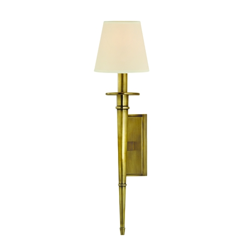 Hudson Valley Lighting Sconce Wall Light with Beige / Cream Paper Shade in Aged Brass Finish 220-AGB