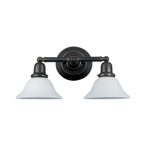 Sea Gull Lighting Bathroom Light with White Glass in Heirloom Bronze Finish 49065BLE-782