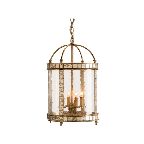 Currey and Company Lighting Pendant Light with Clear Glass in Harlow Silver Leaf Finish 9229