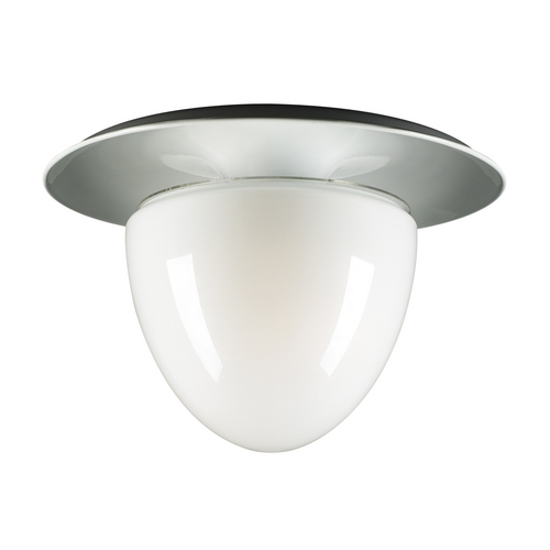 PLC Lighting Modern Flushmount Light with White Glass in White Finish 67018  OPAL